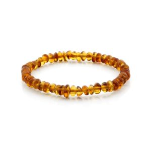 ADULT BALTIC AMBER BRACELET. ROUNDEL LIGHT COGNAC 5X3 MM