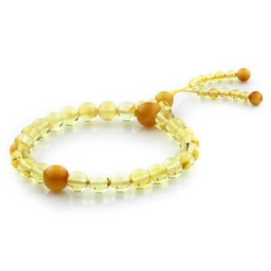 Adult Baltic Amber Bracelet Round Beads 9mm 6gr. AD20