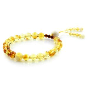 Adult Baltic Amber Bracelet Round Beads 10mm 6gr. AD21