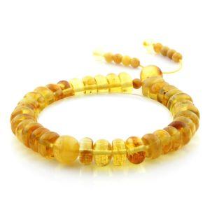Adult Baltic Amber Bracelet Round Tablet Beads 10mm 11gr. AD31