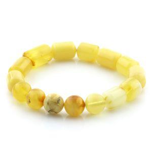 Adult Baltic Amber Bracelet Round Cylinder Beads 13mm 10gr. AD39