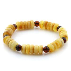 Adult Baltic Amber Bracelet Round Tablet Beads 8mm 10gr. AD42