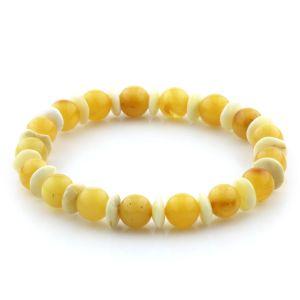 Adult Baltic Amber Bracelet Round Tablet Beads 8mm 6gr. AD45