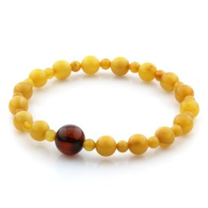 Adult Baltic Amber Bracelet Round Beads 7mm 4gr. AD50