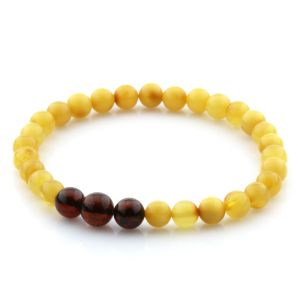 Adult Baltic Amber Bracelet Round Beads 6mm 3gr. AD52
