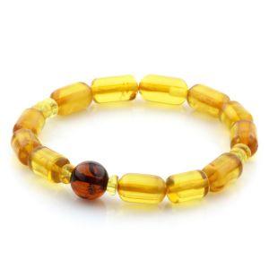 Adult Baltic Amber Bracelet Round Cylinder Beads 11mm 6gr. AD61