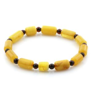 Adult Baltic Amber Bracelet Round Cylinder Beads 11mm 4gr. AD71