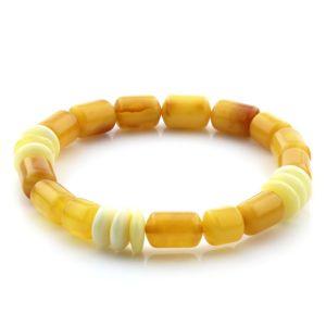 Adult Baltic Amber Bracelet Cylinder Tablet Beads 12mm 8gr. AD76