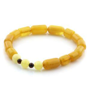 Adult Baltic Amber Bracelet Round Cylinder Beads 12mm 6gr. AD81