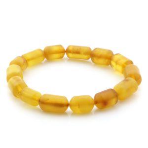 Adult Baltic Amber Bracelet Cylinder Beads 14mm 7gr. AD88