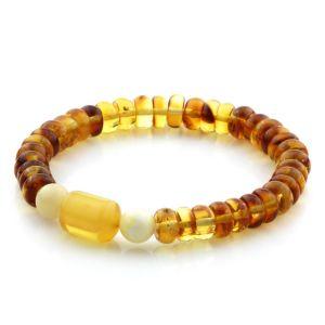 Adult Baltic Amber Bracelet Round Tablet Beads 8mm  8gr. AD90