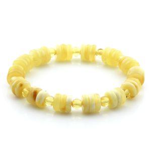 Adult Baltic Amber Bracelet Round Tablet Beads 9mm 7gr. AD98