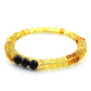 Adult Baltic Amber Bracelet Round Tablet Beads 8mm 6gr. AD100