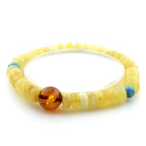 Adult Baltic Amber Bracelet Round Tablet Beads 8mm 8gr. AD111