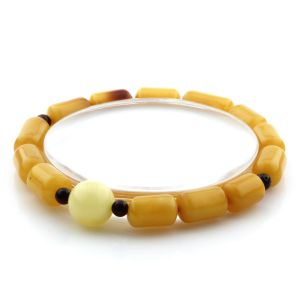 Adult Baltic Amber Bracelet Round Cylinder Beads 11mm 7gr. AD113