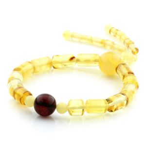 Adult Baltic Amber Bracelet Cylinder Round Beads 13mm 8gr. AD116