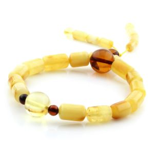 Adult Baltic Amber Bracelet Cylinder Round Beads 13mm 8gr. AD121