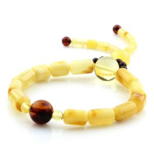 Adult Baltic Amber Bracelet Cylinder Round Beads 12mm 7gr. AD122