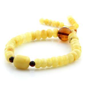 Adult Baltic Amber Bracelet Tablet Cylinder Beads 8mm 9gr. AD137