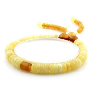 Adult Baltic Amber Bracelet Tablet Cylinder Beads 7mm 8gr. AD138