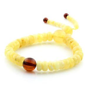 Adult Baltic Amber Bracelet Round Tablet Beads 8mm 9gr. AD140