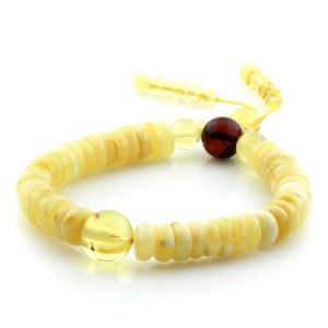 Adult Baltic Amber Bracelet Round Tablet Beads 9mm 10gr. AD145