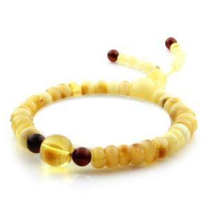 Adult Baltic Amber Bracelet Round Tablet Beads 8mm 8gr. AD146
