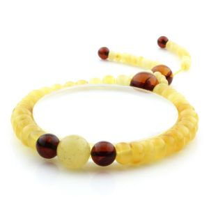 Adult Baltic Amber Bracelet Round Tablet Beads 8mm 9gr. AD147