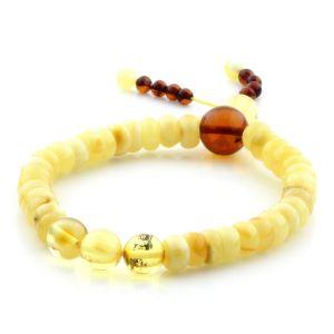 Adult Baltic Amber Bracelet Round Tablet Beads 7mm 8gr. AD149