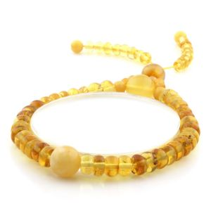 Adult Baltic Amber Bracelet Round Tablet Beads 7mm 8gr. AD152