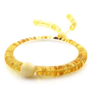 Adult Baltic Amber Bracelet Round Tablet Beads 7mm 8gr. AD153
