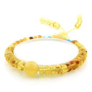 Adult Baltic Amber Bracelet Round Tablet Beads 7mm 8gr. AD154