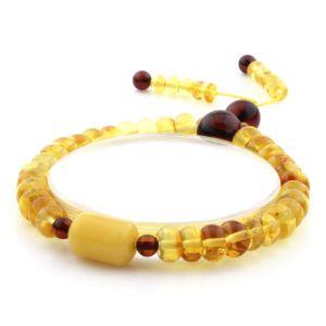 Adult Baltic Amber Bracelet Tablet Cylinder Beads 8mm 8gr. AD155