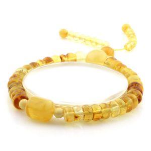 Adult Baltic Amber Bracelet Tablet Cylinder Beads 8mm 10gr. AD156