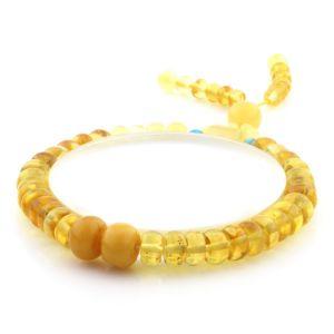 Adult Baltic Amber Bracelet Round Tablet Beads 7mm 8gr. AD159
