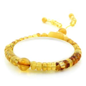 Adult Baltic Amber Bracelet Round Tablet Beads 7mm 7gr. AD160