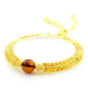 Adult Baltic Amber Bracelet Round Tablet Beads 7mm 7gr. AD163