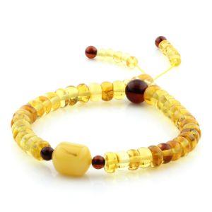 Adult Baltic Amber Bracelet Tablet Cylinder Beads 7mm 7gr. AD164