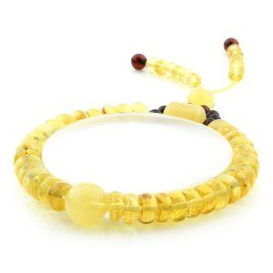 Adult Baltic Amber Bracelet Round Tablet Beads 8mm 9gr. AD168