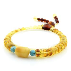 Adult Baltic Amber Bracelet Round Tablet Beads 8mm 9gr. AD169