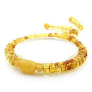 Adult Baltic Amber Bracelet Tablet Cylinder Beads 8mm 9gr. AD174