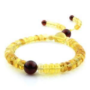 Adult Baltic Amber Bracelet Round Tablet Beads 7mm 9gr. AD175
