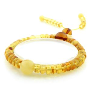 Adult Baltic Amber Bracelet Round Tablet Beads 7mm 8gr. AD176