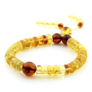 Adult Baltic Amber Bracelet Round Tablet Beads 7mm 9gr. AD178