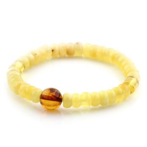 Adult Baltic Amber Bracelet Round Tablet Beads 7mm 7gr. AD180