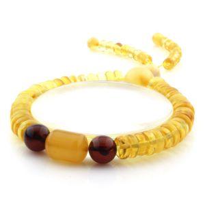 Adult Baltic Amber Bracelet Round Tablet Beads 9mm 11gr. AD187