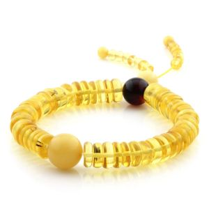 Adult Baltic Amber Bracelet Round Tablet Beads 10mm 13gr. AD188