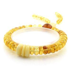 Adult Baltic Amber Bracelet Round Tablet Beads 8mm 11gr. AD189