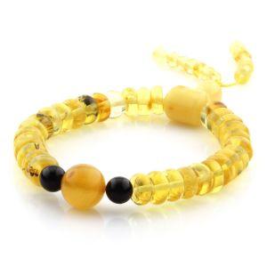 Adult Baltic Amber Bracelet Round Tablet Beads 8mm 10gr. AD190