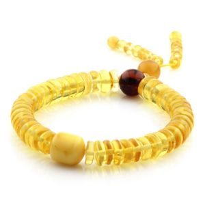 Adult Baltic Amber Bracelet Round Tablet Beads 8mm 10gr. AD191